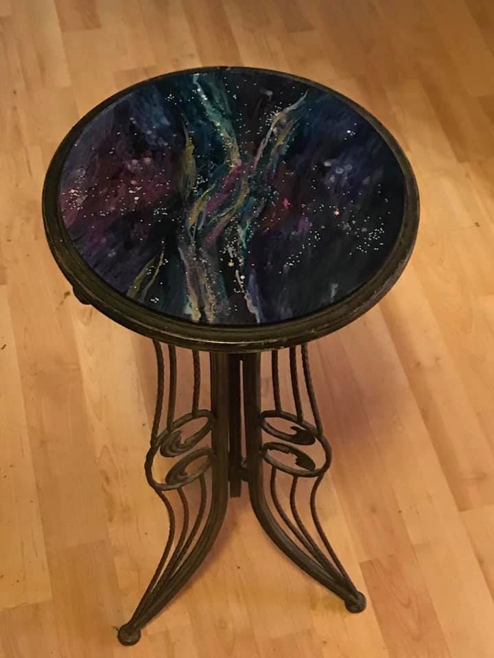 Table with Painted Glass